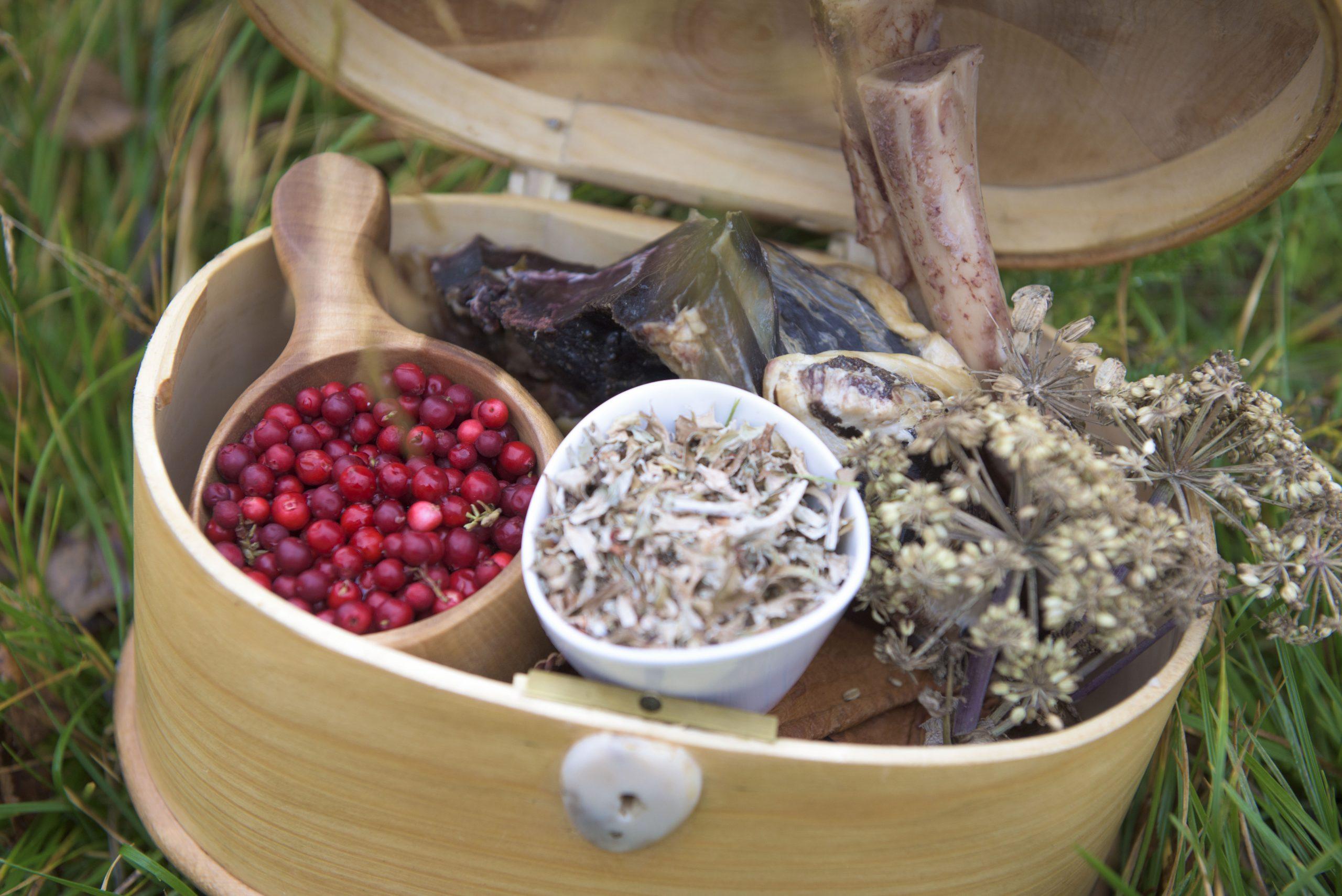 Giisa (samisk kiste) med mat